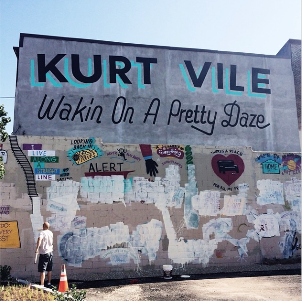 The mural after it was defaced.
