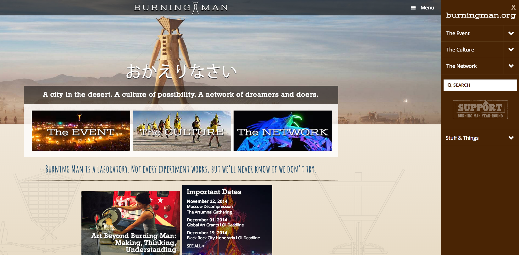Burningman.org front page